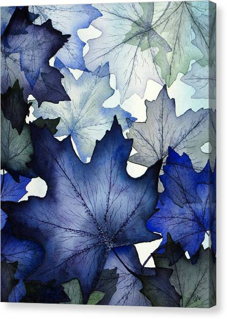 Winter Maple Leaves Canvas Print by Christina Meeusen