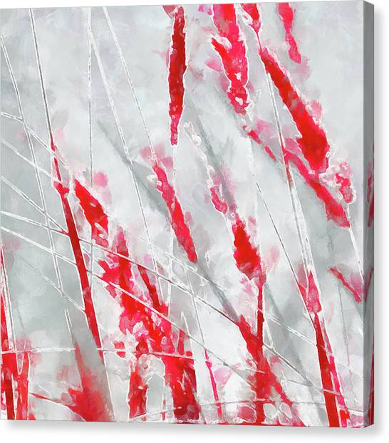 Winter Moods 1 - Cardinal Red And Icy Gray Nature Abstract Canvas Print