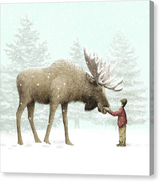 Pine Trees Canvas Print - Winter Moose by Eric Fan