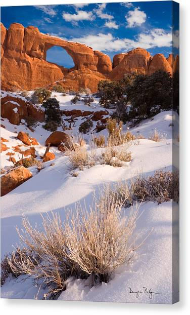 Winter Morning At Arches National Park Canvas Print by Douglas Pulsipher
