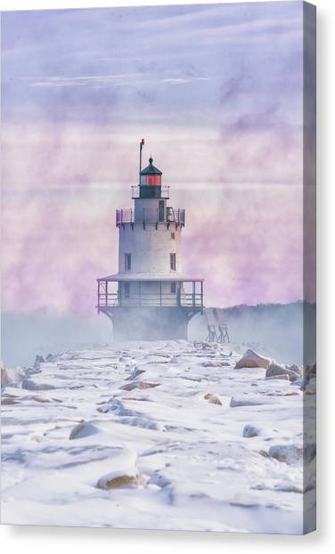 Winter Morning At Spring Point Ledge Canvas Print