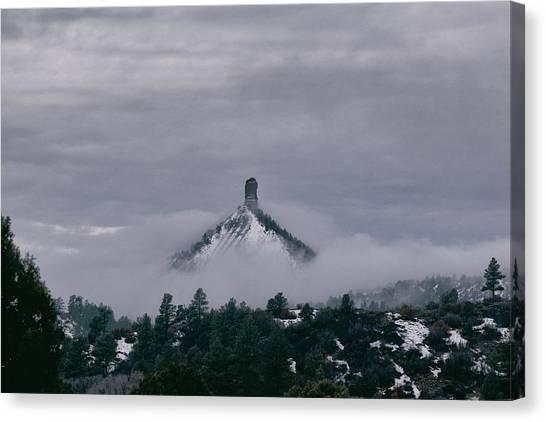 Winter Morning Fog Envelops Chimney Rock Canvas Print