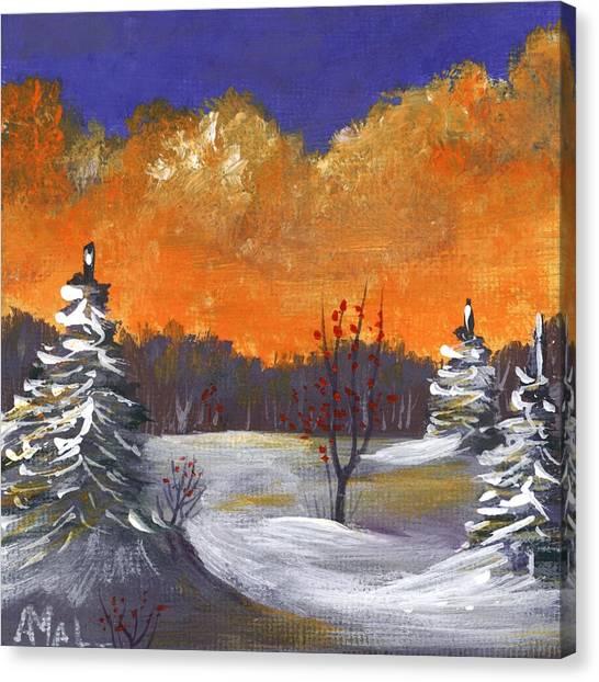 Canvas Print featuring the painting Winter Nightfall #1 by Anastasiya Malakhova
