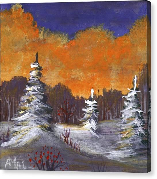 Canvas Print featuring the painting Winter Nightfall #2 by Anastasiya Malakhova