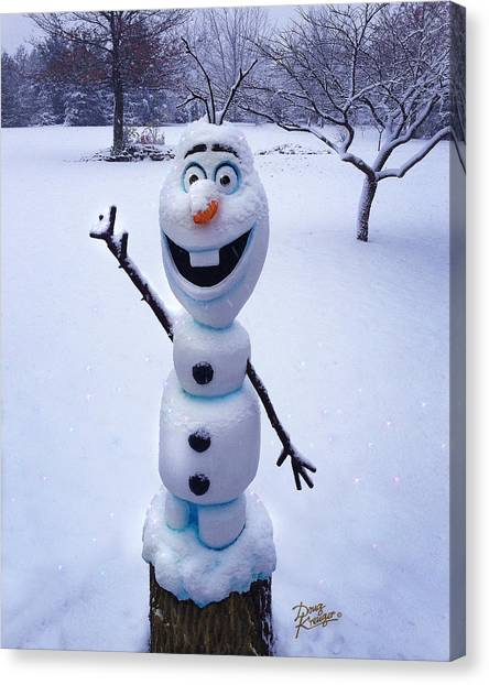 Chainsaw Canvas Print - Winter Olaf by Doug Kreuger