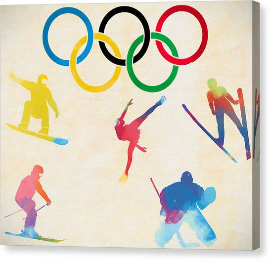 Speed Skating Canvas Print - Winter Olympics Games by Dan Sproul