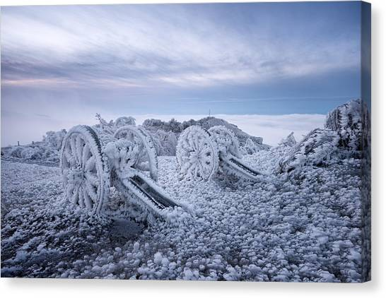 Winter On Shipka Peak Canvas Print by Milen Dobrev