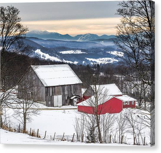 Winter On The Farm On The Hill Canvas Print