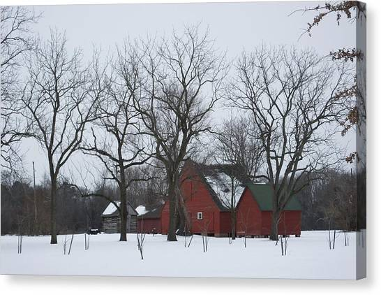 Smokehouses Canvas Print - Winter On The Plantation by Francie Davis