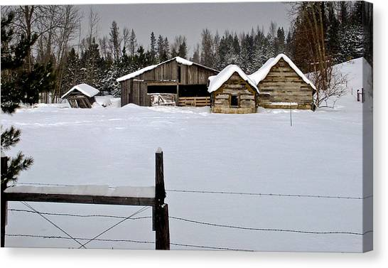 Winter On The Ranch Canvas Print