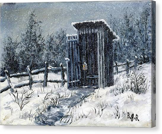 Winter Outhouse #2 Canvas Print