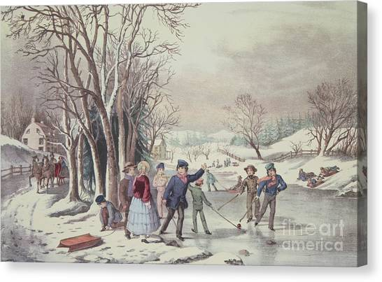Currier And Ives Canvas Print - Winter Pastime by Currier and Ives