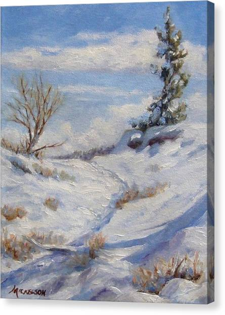 Winter Path Canvas Print by Debra Mickelson