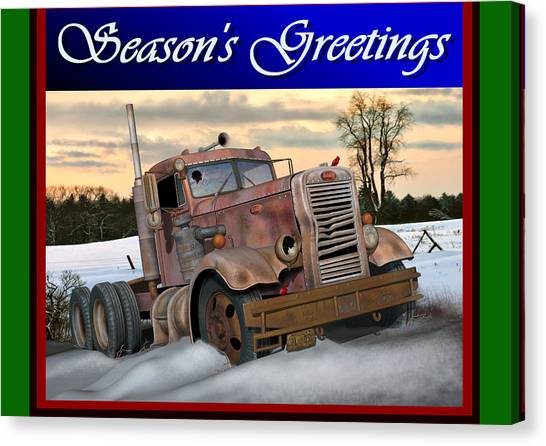 Rusty Truck Canvas Print - Winter Pete Season's Greetings by Stuart Swartz