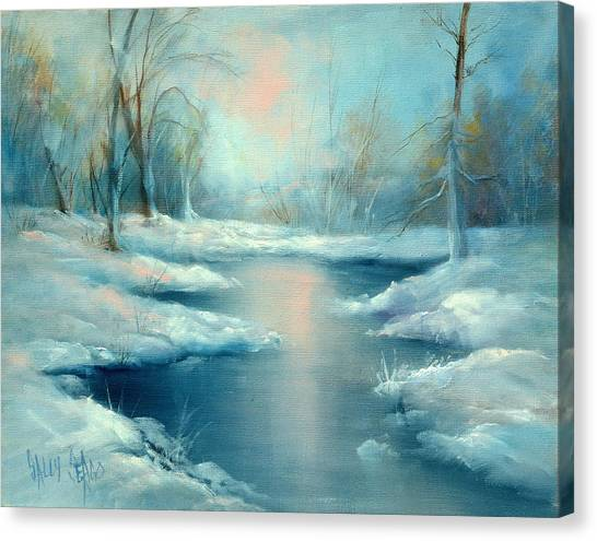 Winter Pond Canvas Print by Sally Seago