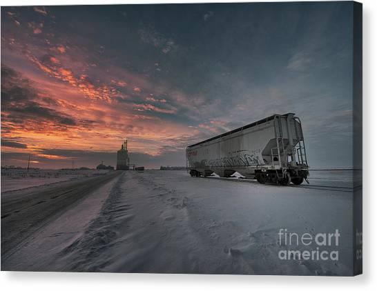 Saskatchewan Canvas Print - Winter Rail Car by Ian McGregor