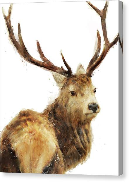 Stag Canvas Print - Winter Red Deer by Amy Hamilton
