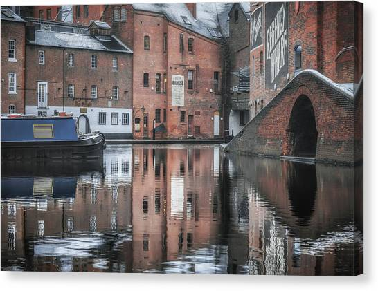 Boat Basin Canvas Print - Winter Reflections At Gas Street Basin by Chris Fletcher