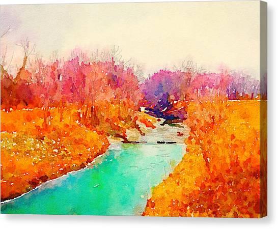 Orange Tree Canvas Print - Winter River Watercolor Rectangle by Jennifer Richter