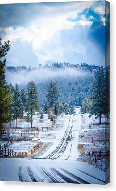 Canvas Print featuring the photograph Winter Road by Jason Smith
