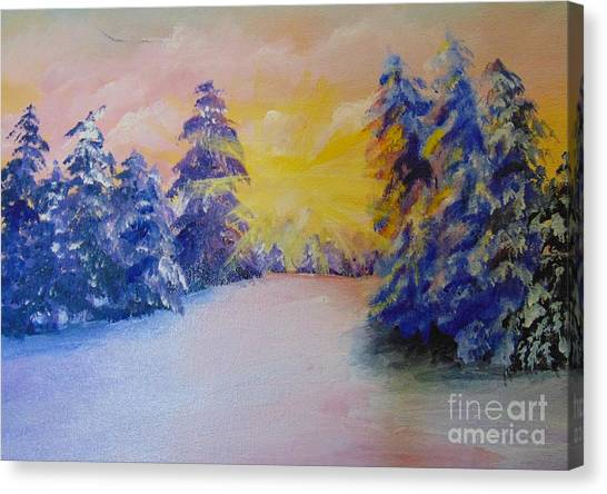 Canvas Print featuring the painting Winter by Saundra Johnson