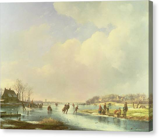 Figure Skating Canvas Print - Winter Scene by Andreas Schelfhout