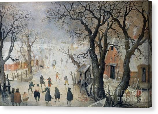 Ice Skating Canvas Print - Winter Scene by Hendrik Avercamp