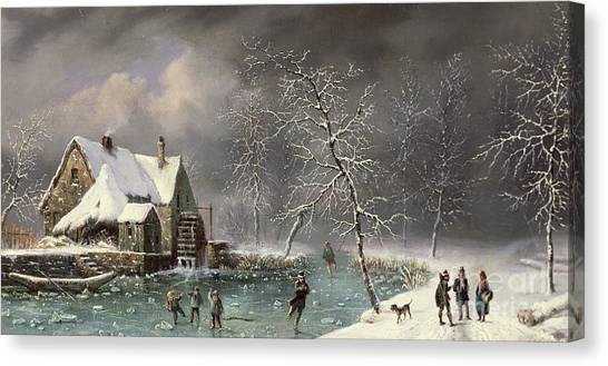 Figure Skating Canvas Print - Winter Scene by Louis Claude Mallebranche