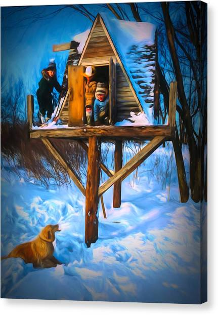 Winter Scene Three Kids And Dog Playing In A Treehouse Canvas Print