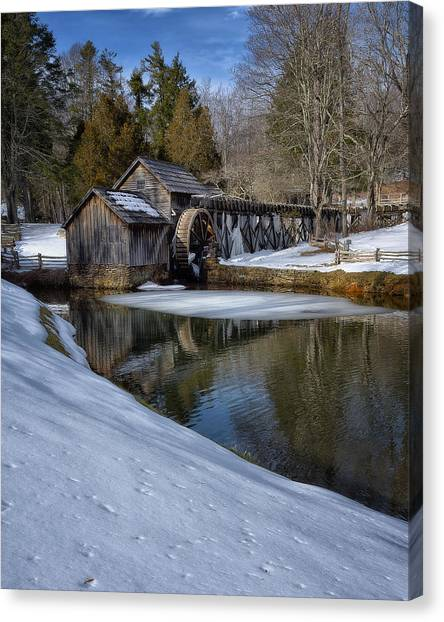 Winter Snow At Mabry Mill Canvas Print