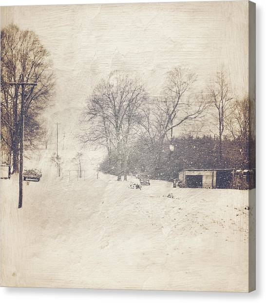 Winter Snow Storm At The Farm Canvas Print