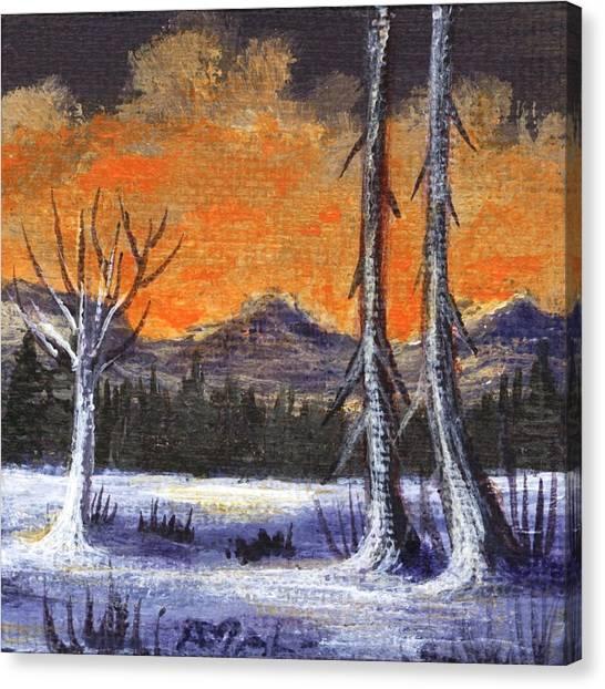 Canvas Print featuring the painting Winter Solitude #3 by Anastasiya Malakhova
