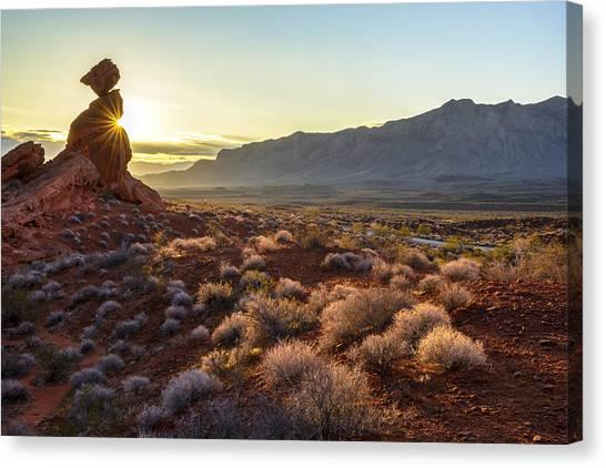 Winter Solstice Sunrise At Balanced Rock Canvas Print