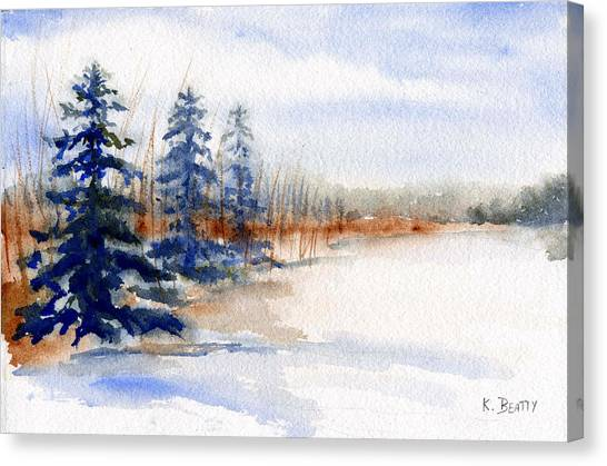 Winter Storm Watercolor Landscape Canvas Print
