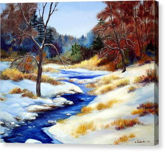 Winter Stream Canvas Print by Laura Tasheiko
