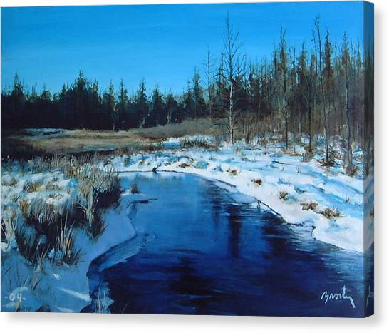 Winter Stream Canvas Print by William  Brody
