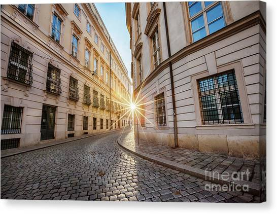 winter sun between two buildings in Vienna Canvas Print