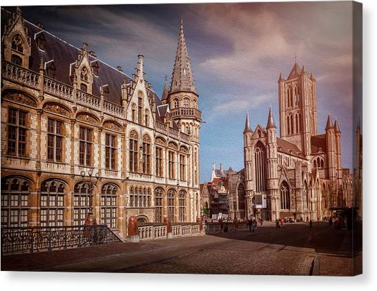 Gent Canvas Print - Winter Sun In Ghent Belgium  by Carol Japp