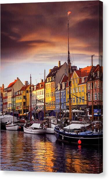 Winter Sun Over Nyhavn Copenhagen  Canvas Print