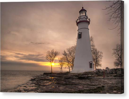 Winter Sunrise At Marblehead Lighthouse Canvas Print