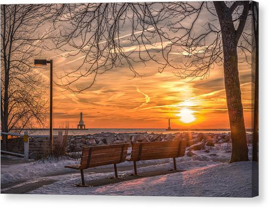 Winter Sunrise In The Park Canvas Print
