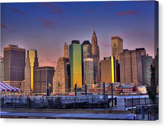 Winter Sunrise Over Downtown Manhattan Canvas Print by Val Black Russian Tourchin
