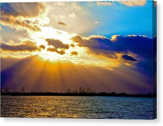 Winter Sunrise Over Miami Beach Canvas Print by William Wetmore