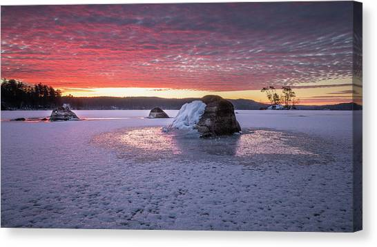 Winter Sunrise Over Moose Pond Canvas Print