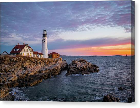 Winter Sunrise Over Portland Head Light Canvas Print