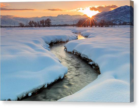 Winter Sunset In Rural Utah. Canvas Print
