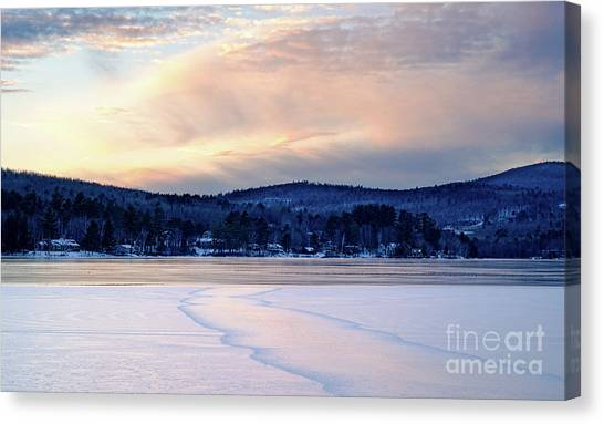 Winter Sunset On Wilson Lake In Wilton Me  -78091-78092 Canvas Print