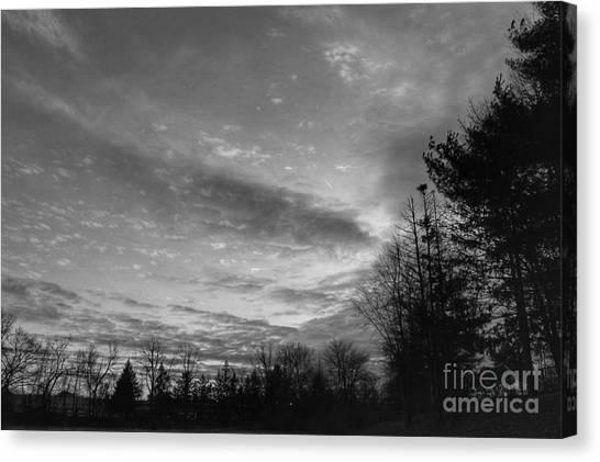 Winter Sunset On Woodland Lake Canvas Print