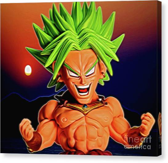 Canvas Print featuring the digital art Sunset Ss Broly by Ray Shiu
