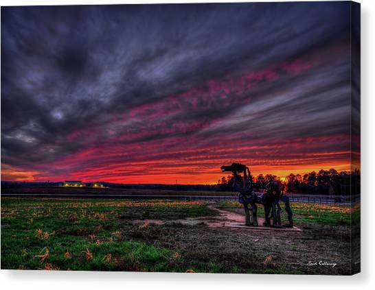 University Of Georgia Canvas Print - Winter Sunset The Iron Horse Greene County Art by Reid Callaway